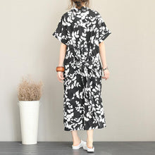 Load image into Gallery viewer, New floral long cotton dress plus size clothing lapel collar caftans New short sleeve caftans