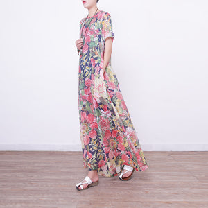 New floral long dresses casual Loose fitting short sleeve cotton clothing dresses vintage Chinese Button dresses
