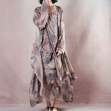 Load image into Gallery viewer, New floral silk dress casual o neck linen maxi dress New two pieces kaftan