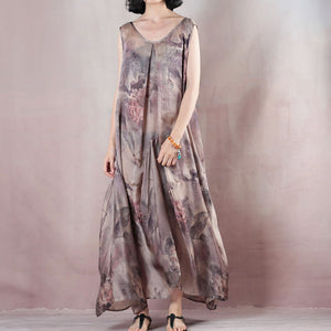 New floral silk dress casual o neck linen maxi dress New two pieces kaftan