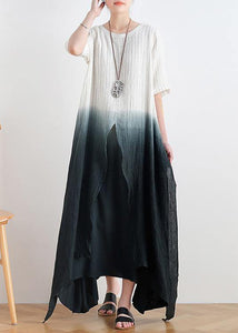 New gradient design irregular hem robe pure linen dress