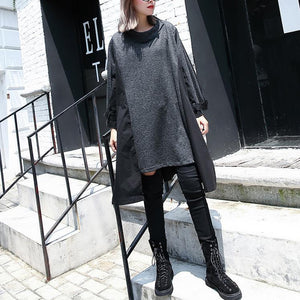 New gray 2018 fall dress Loose fitting traveling clothing asymmetric Elegant O neck patchwork dresses