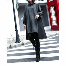 Load image into Gallery viewer, New gray 2018 fall dress Loose fitting traveling clothing asymmetric Elegant O neck patchwork dresses
