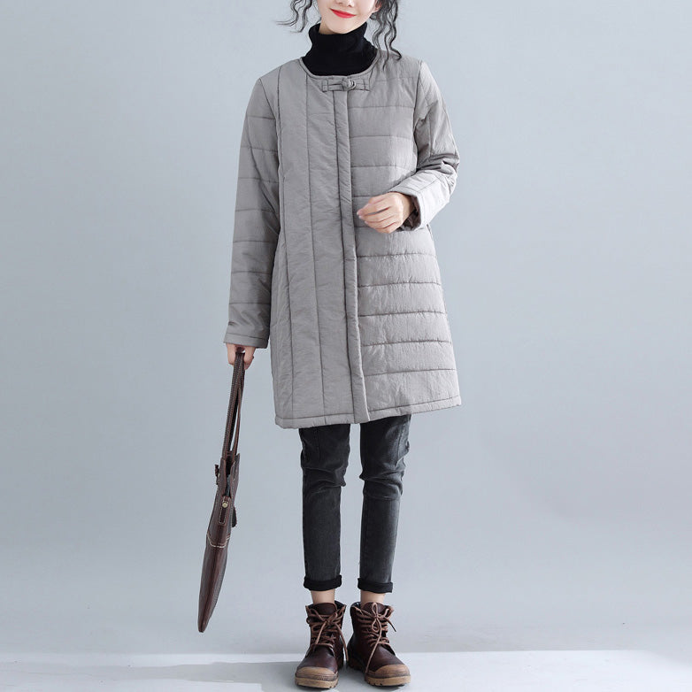 New gray Parkas Loose fitting o neck snow jackets Elegant Chinese Button winter outwear