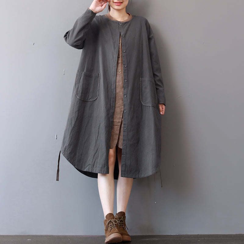 New gray cotton dress plus size stand collar cotton maxi dress Elegant long sleeve autumn shirt dress