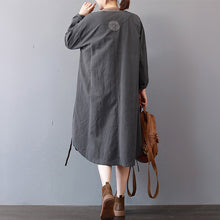 Load image into Gallery viewer, New gray cotton dress plus size stand collar cotton maxi dress Elegant long sleeve autumn shirt dress