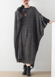 New gray wool dress plus size o neck asymmetric long dress