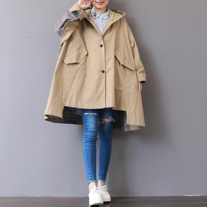 New khaki Coats plus size hooded low high design Coat boutique patchwork Winter trench coat