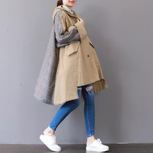 Load image into Gallery viewer, New khaki Coats plus size hooded low high design Coat boutique patchwork Winter trench coat