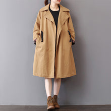 Load image into Gallery viewer, New khaki Coats plus size lapel collar outwear vintage wild Coat