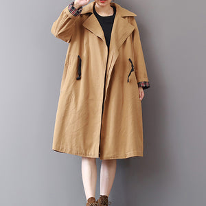 New khaki Coats plus size lapel collar outwear vintage wild Coat