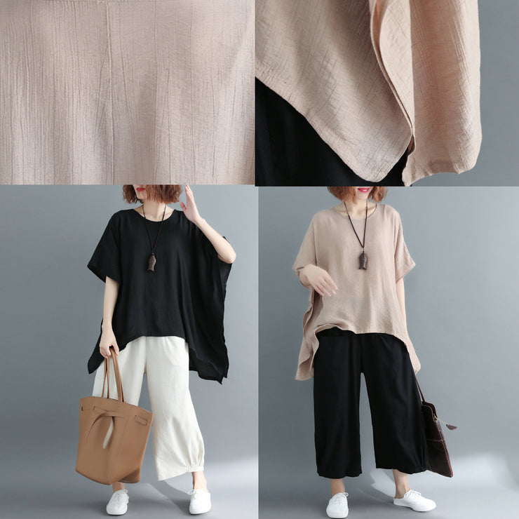 New khaki Midi-length cotton linen t shirt Loose fitting casual cardigans 2018 short sleeve o neck linen blouses