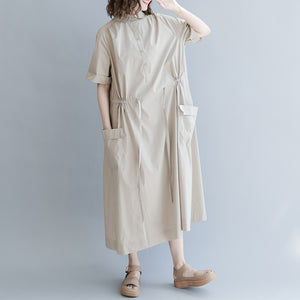 New khaki cotton blended dress plus size clothing traveling clothing Elegant short sleeve pockets Turn-down Collar baggy dresses