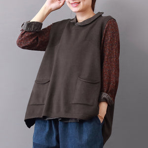 New khaki cozy sweater Loose fitting lapel collar sweaters 2018 sleeveless top