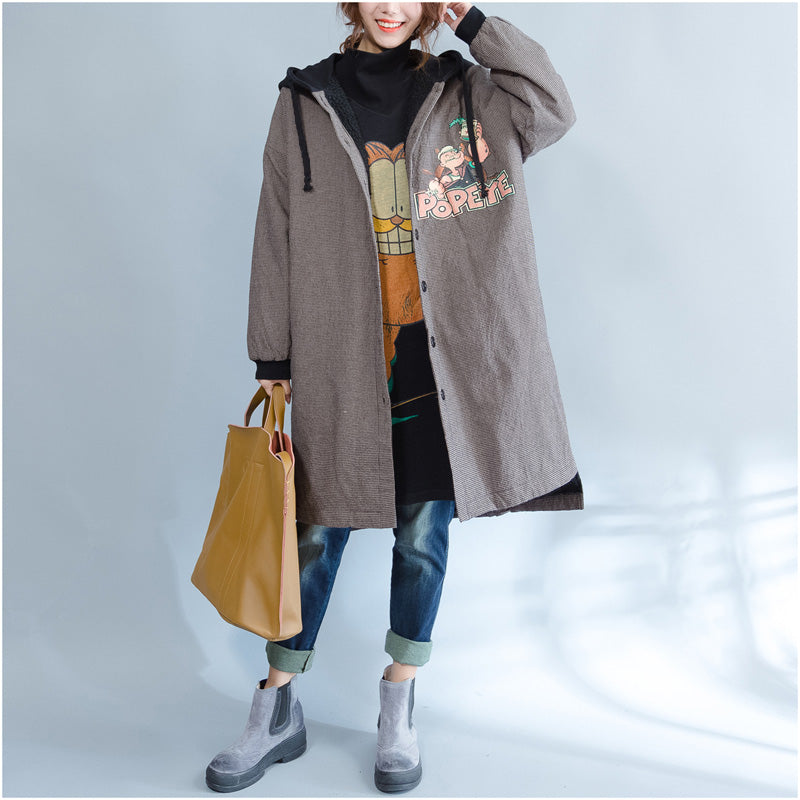 New khaki prints women parka casual hooded warm winter coat top quality thick winter coats