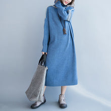 Load image into Gallery viewer, New light blue long sweaters plus size clothing patchwork winter dress high neck pullover sweater