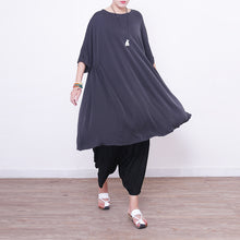 Load image into Gallery viewer, New light gray Midi silk dresses oversized silk clothing dress top quality short sleeve o neck cotton dresses