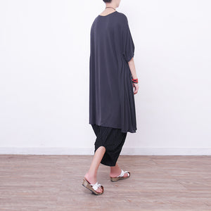 New light gray Midi silk dresses oversized silk clothing dress top quality short sleeve o neck cotton dresses