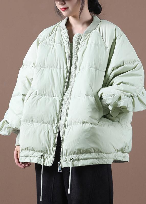 New light green duck down coat plus size clothing down jacket stand collar Ruffles Fine Jackets