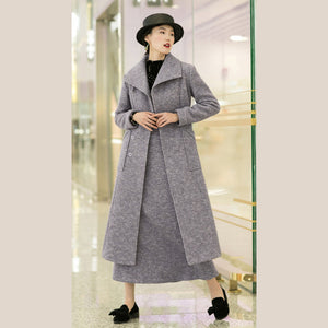 New light purple woolen outwear trendy plus size tei waist long coats pockets coats