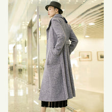Load image into Gallery viewer, New light purple woolen outwear trendy plus size tei waist long coats pockets coats