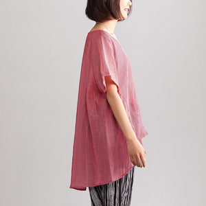 New linen blended summer top casual Summer Loose Leisure Short Sleeve Women Red Stripe Blouse