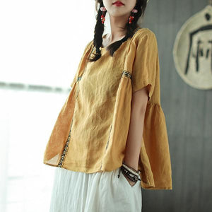 New linen blouse Loose fitting Loose Pleated Ramie Casual Women Pullover Blouse
