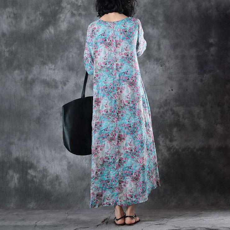 New linen summer dress Loose fitting Retro V Neck Short Sleeve Printed Ramie Dress