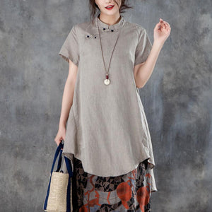 New linen tops casual Stand Collar Short Sleeve Irregular Women Khaki Tops