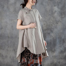 Load image into Gallery viewer, New linen tops casual Stand Collar Short Sleeve Irregular Women Khaki Tops