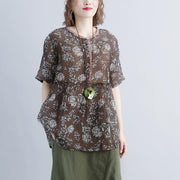 New linen tops plus size clothing Round Neck Casual Summer Short Sleeve Floral Blouse