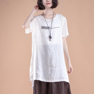 New linen tops plus size clothing Short Sleeve Slit Summer Casual White Women Tops