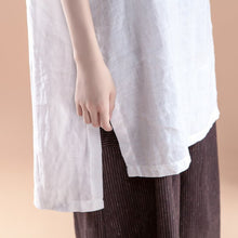 Load image into Gallery viewer, New linen tops plus size clothing Short Sleeve Slit Summer Casual White Women Tops