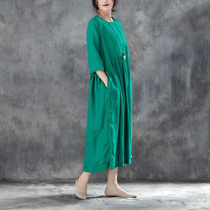 New long linen dress Loose fitting Linen Round Neck Three Quarter Sleeve Green Pleated Dress