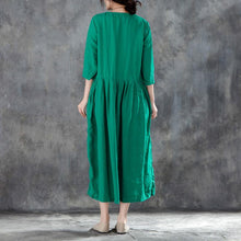 Load image into Gallery viewer, New long linen dress Loose fitting Linen Round Neck Three Quarter Sleeve Green Pleated Dress