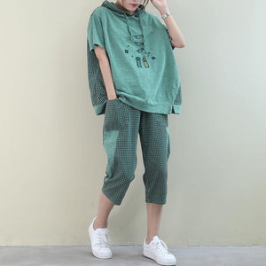 New loose large size embroidery light green plaid stitching casual two pieces