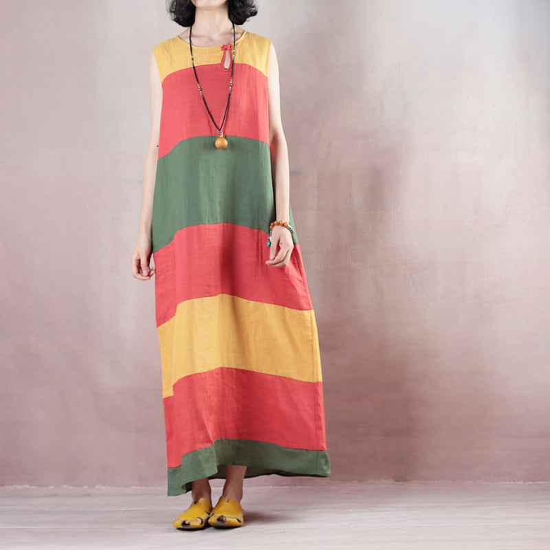 New multicolor striped linen maxi dress trendy plus size O neck linen maxi dress Fine Sleeveless baggy dresses