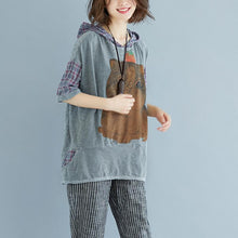 Load image into Gallery viewer, New natural linen t shirt oversized Plaid Summer Short Sleeve High-low Hem Gray Hooded Blouse
