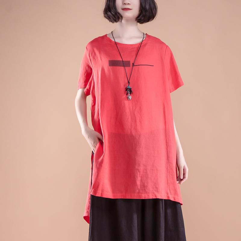 New natural linen t shirt plus size Short Sleeve slit Summer Casual Red Women Tops