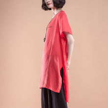 Load image into Gallery viewer, New natural linen t shirt plus size Short Sleeve slit Summer Casual Red Women Tops