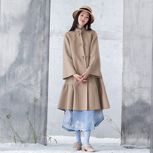 New nude woolen outwear oversized mid-length coats patchwork coats stand collar