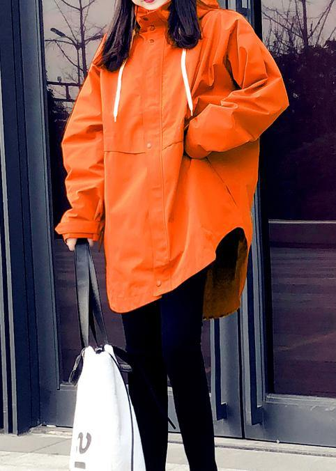 New orange duck down coat plus size womens parka hooded zippered Elegant coats