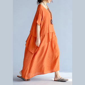 New orange long linen dresses plus size clothing layered cotton dresses New short sleeve linen cotton dress