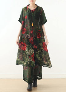 New original silk printed large size long coat loose wide leg pants green two-piece