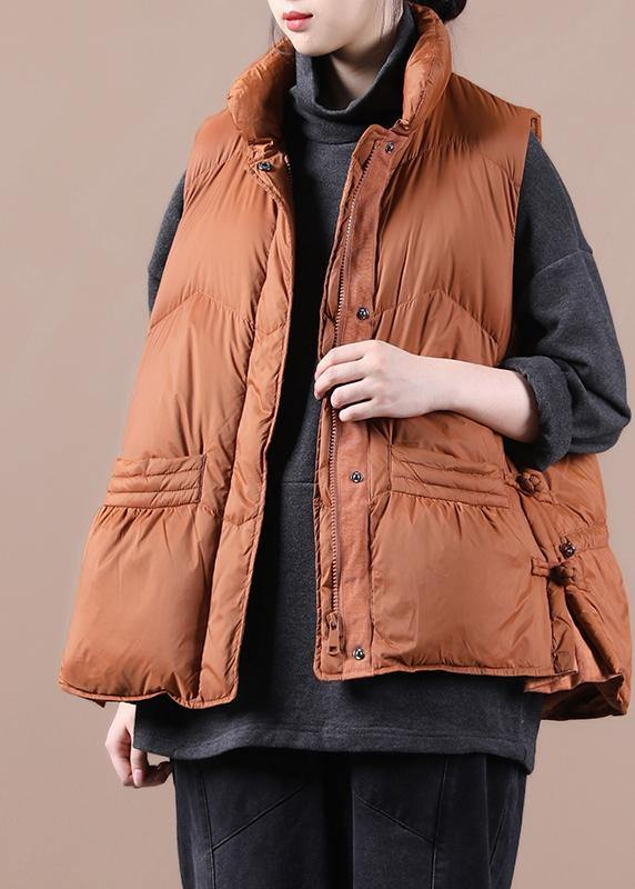 New oversize snow jackets overcoat orange stand collar zippered warm winter coat