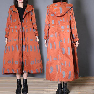 New oversized Jackets & Coats fall red prints hooded coat