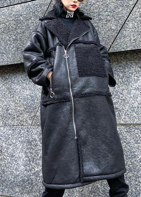 New oversized long jackets winter coats black zippered wool overcoat