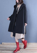 Load image into Gallery viewer, New oversized medium length coat fall black hooded Coats