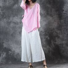 Load image into Gallery viewer, New pink natural linen t shirt oversize linen maxi t shirts Fine half sleeve v neck tie waist tops