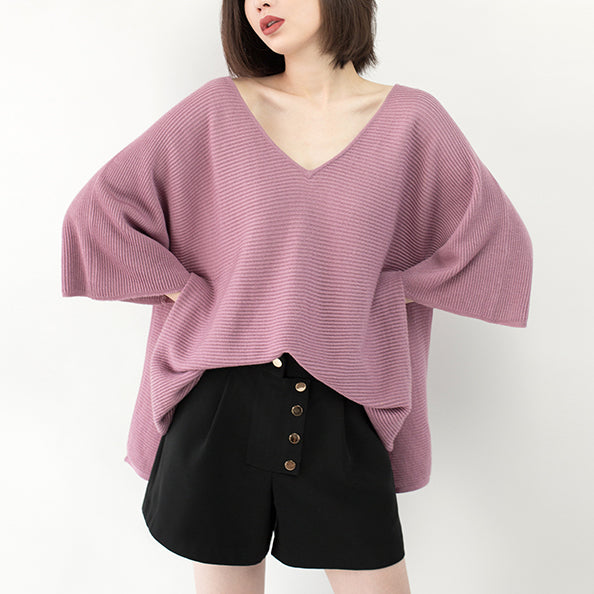 New pink sweater Loose fitting V neck knit sweat tops casual Batwing Sleeve top